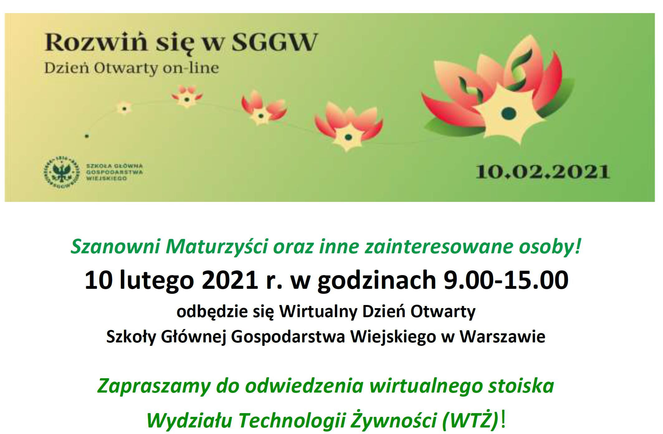 Wirtualny Dzień Otwarty Szkoły Głównej Gospodarstwa Wiejskiego w Warszawie